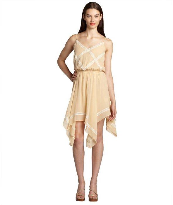 Love Sam tea stain silk georgette crisscross lace handkerchief dress