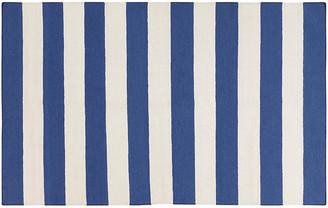 One Kings Lane Hermie Flat-Weave Rug - Blue