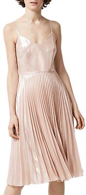 Warehouse Foil Pleated Dress, Light Pink