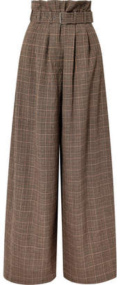 Maison Margiela Belted Checked Wool-blend Wide-leg Pants - Brown