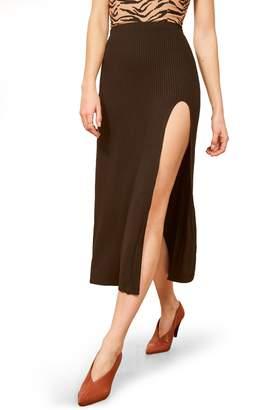 Reformation Runyon Side Slit Midi Skirt