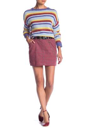 EMORY PARK Plaid Mini Skirt With Chain