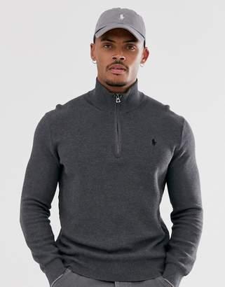 Polo Ralph Lauren icon logo textured pima cotton half zip jumper in dark grey marl