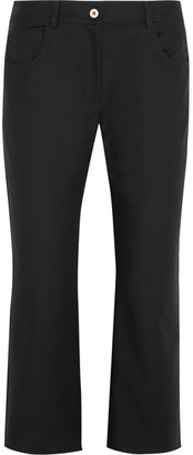 KENZO - Cropped Stretch-cotton Flared Pants - Black $375 thestylecure.com