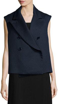 Helmut Lang Double-Breasted Cotton-Blend Vest, Navy $875 thestylecure.com