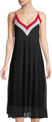 Catherine Malandrino V-Neck Colorblocked Midii Dress