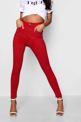 boohoo Mary Mid Rise Destroyed Hem Skinny Jeans