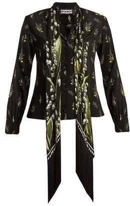 Rockins - Skully Of The Valley Print Silk Shirt - Womens - Black Print