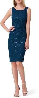 Tahari Sequin Stretch Lace Sheath Dress