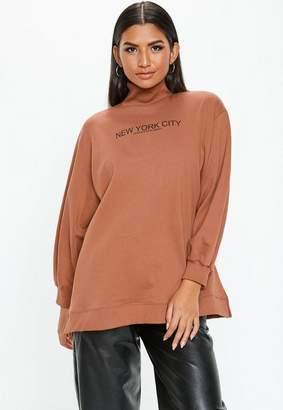 Missguided Rust New York City Graphic Funnel Neck Sweatshirt