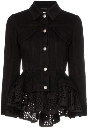 Alexander McQueen peplum detail fitted denim jacket