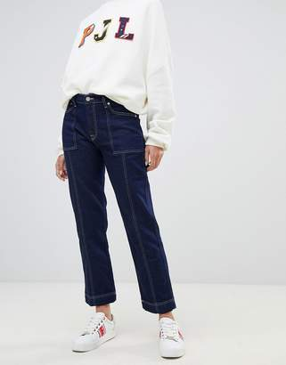 Pepe Jeans high rise straight leg jean with contrast stitch