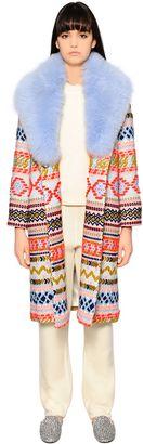Giada Benincasa Embroidered Wool & Fox Fur Coat