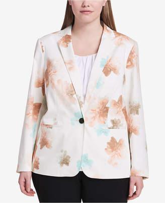 Calvin Klein Plus Size Floral-Print Blazer