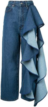 SOLACE London Tay ruffle-detailed jeans