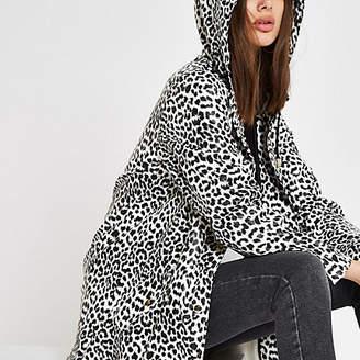 River Island White leopard print hooded raincoat