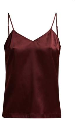 La Perla Silk Reward V Neck Silk Blend Cami Top - Womens - Burgundy