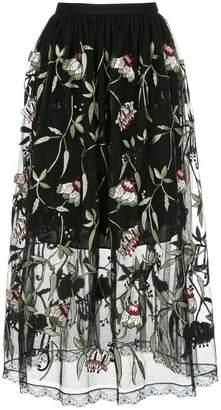 Markus Lupfer sheer floral print skirt