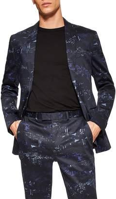 Topman Skinny Fit Digi Print Suit Jacket