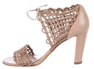 Stuart Weitzman Woven Lace-Up Sandals