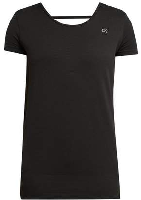 Calvin Klein Logo Print Stretch Mesh Sports Top - Womens - Black