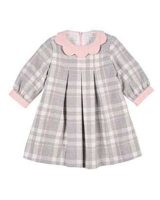 Florence Eiseman Plaid Long-Sleeve Dress w/ Embroidered Flowers, Size 2-4