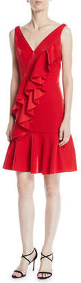 Jay Godfrey JAY X JAYGODFREY Cranston V-Neck Sleeveless Ruffle-Front Shimmer Cocktail Dress