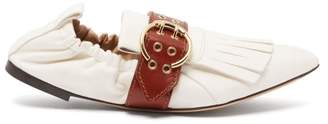 Chloé Fringed Leather Ballet Flats - Womens - Tan White