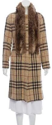 Burberry Wool Fox Fur-Trimmed Coat