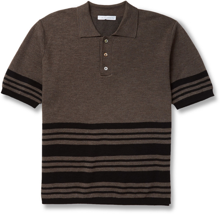 J.W.Anderson Striped Merino Wool-Blend Polo Shirt