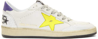 Golden Goose White and Yellow Ball Star Sneakers