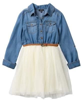 Zunie Roll Tab Long Sleeve Tencel Denim Swiss Dot Dress (Big Girls)