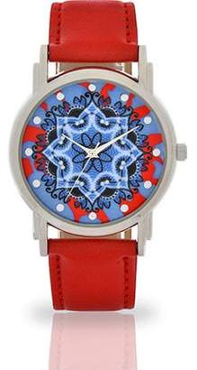 Accutime Watch Corp Women's Red Flower Dial Watch, Faux Leather Band