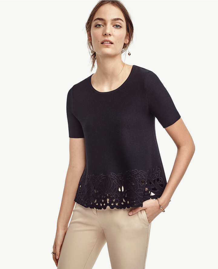 Ann Taylor Petite Embroidered Floral Top