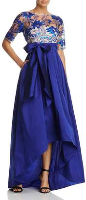 Adrianna Papell Three-Quarter Sleeve Beaded High/Low Gown $219 thestylecure.com