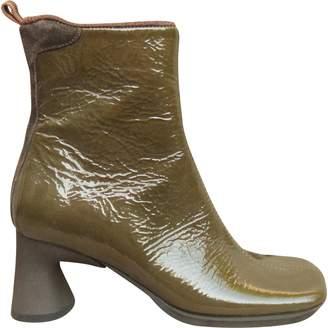 Miu Miu Khaki Patent leather Ankle boots