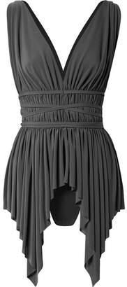 Norma Kamali Goddess Belted Asymmetric Swimsuit - Charcoal