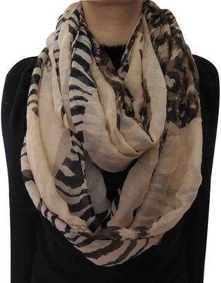 Lina & Lily Zebra Leopard Animal Print Infinity Loop Scarf for Women Lightweight