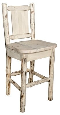 """Loon Peak Toulon 30"""" Barstool with Back and Laser Engraved Pine Tree Design Loon Peak"""