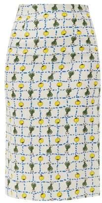 STAUD Cabana High Rise Vegetable Print Linen Skirt - Womens - Ivory Multi