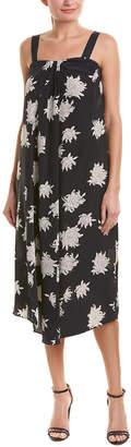 Vince Pleated Silk Midi Dress