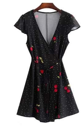 Goodnight Macaroon 'Ginny' Cherry Print Tied Wrap Dress