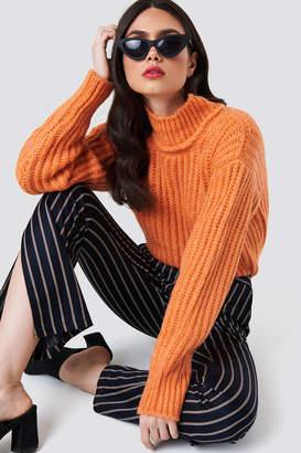 NA-KD Na Kd Big Ribbed Oversize Knitted Sweater Black