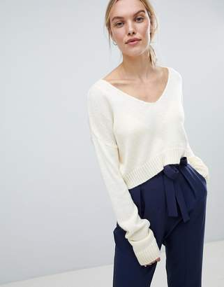 Asos Design Cropped Jumper In Fluffy Yarn And Off Shoulder