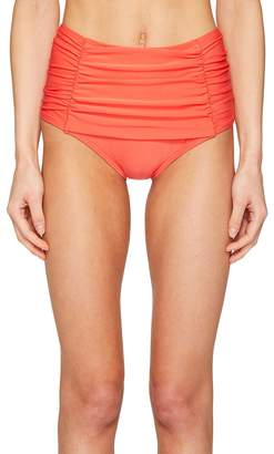 Kate Spade Pink Sands Beach #62 Shirred Front High Waisted Bikini Bottom Women's Swimwear