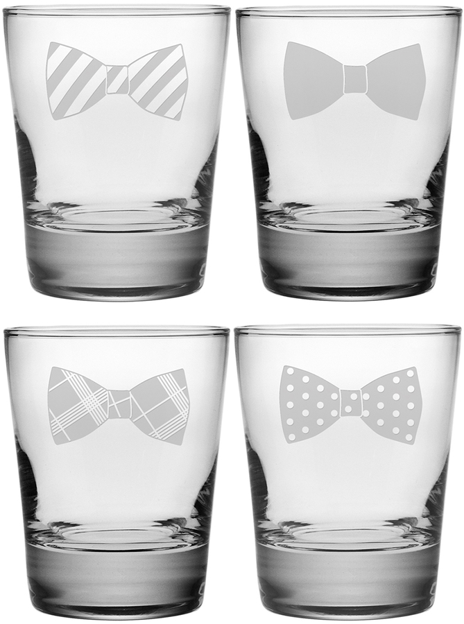 Bowtie Assortment Double Old Fashioned Glasses (Set of 4)