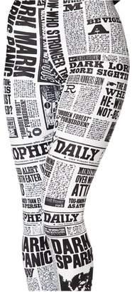 JUNVEVOOL Newspaper Leggings Hot Sale Fashion Legging For Women (3XL)