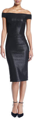 Zac Posen Off-the-Shoulder Metallic-Jacquard Body-Con Midi Cocktail Dress