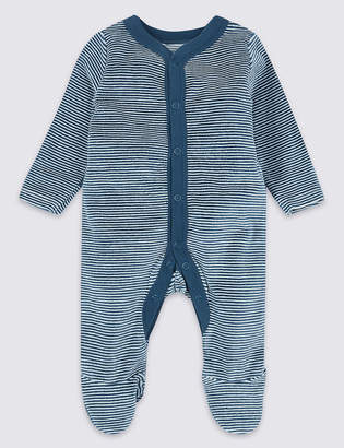 Marks and Spencer Cotton Rich Velour Striped Sleepsuit