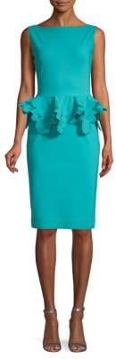 Chiara Boni Lace-Trimmed Peplum Sheath Dress
